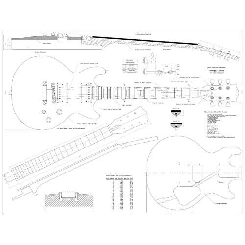 Guitar templates amazon full scale plans for the gibson les paul double cutaway electric guitar technical design drawings malvernweather Choice Image