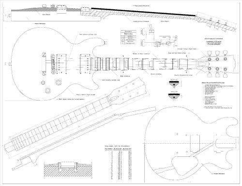 Full Scale Plans for the Gibson Les Paul Double Cutaway Electric Guitar - Technical Design Drawings