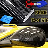 AutoSpeed Premium 5D HIGH Gloss Black Carbon Fiber Vinyl Wrap Bubble Free Air Release (50FTX5FT / 600''X60'')