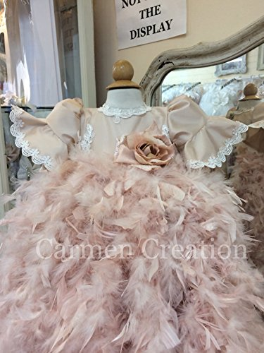 Victorian Feather Christening Gown Blush Pink by Carmen Creation