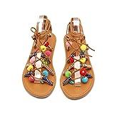 BeautyVan—— Rome Sandals Women Bohemia Sandals Gladiator Leather Sandals Flats Shoes Pom-Pom Sandals Open-Toed Sandals (US:9, Multicolor)