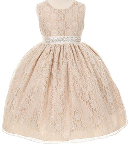 Little-Girls-Lace-Taffeta-Jeweled-Belt-Sash-Flowers-Girls-Dresses