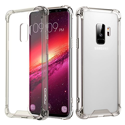 MoKo Samsung Galaxy S9 Plus Case, Crystal Clear Reinforced Corners TPU Bumper + Anti-Scratch Hybrid Rugged Transparent Panel Compatible with Samsung Galaxy S9+ 6.2 Inch 2018 - Clear Black & Clear
