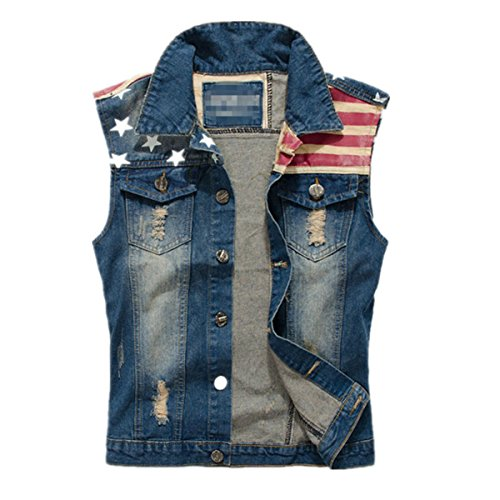 Hzcx Fashion mens brushed star striped flag vests sleeveless button waistcoat 2016051902p40-3851-US S(34)TAG XL