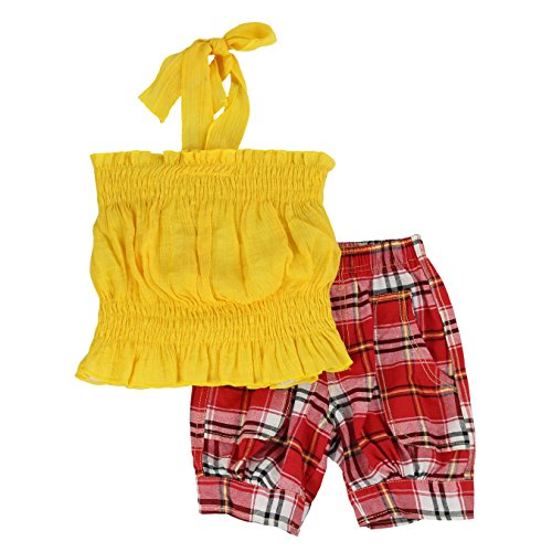 LELEFORKIDS - Toddlers and Girls 'Fun Under The Sun' Halter Plaid Capri Set | Yolanda Yates' Yankee Yellow - Halter Capri Set