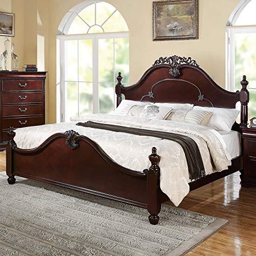 Benzara BM155996 Wooden Queen Size Poster Bed, - Brown Queen Poster Bed