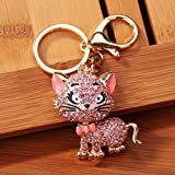 Ikevan Hot Selling Rhinestone Cat Sparkling Charm Keychain Bag Handbag Key Ring Car Key Pendant (Pink)