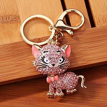 506434ec5b Ikevan Hot Selling Rhinestone Cat Sparkling Charm Keychain Bag Handbag Key  Ring Car Key Pendant (