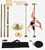 X-Dance Pole45mm Gold Professional Exotic Removable 9 FT Pole Dance Exercise Fitness with 2 Carrying Black Bags review