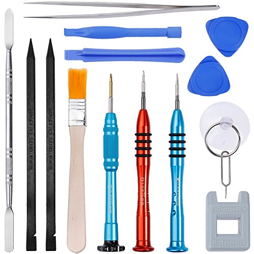 Vastar 16Pcs Cell Phone Repair Tool Kit for iPhone Precision Screwdriver Set with Magnetizer/ Demagnetizer Tool & Opening Pry Tools for iPhone X/8/8 Plus, 7/7Plus,6P/6S/6/5S/5/5C/4S/4/SE,iPod,iTouch (5c Repair Apple Iphone Kit)