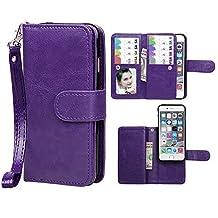 "iPhone 6/6S Case,xhorizon TM SR Premium Leather Folio Case[Wallet Function][Magnetic Detachable]Wristlet Lanyard Flip Book Style Multiple Card Slots Case for iPhone 6/6S (4.7"")- Purple"