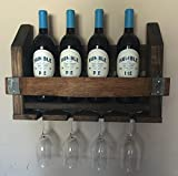 Cheap Wine Barrel Wood Wine Rack & Long Stem Glass Holder …