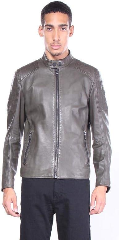 BOSS Orange Mens Jermon Leather Biker Jacket