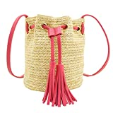 Straw Bag, BCTEX Woven Beach Crossbody Bag Leather Tassel Shoulder Purse Drawstring Summer Bag