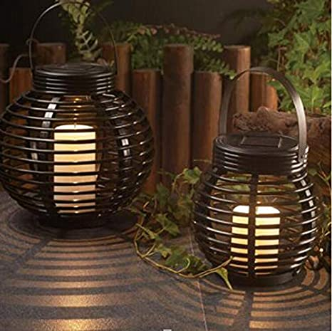 Outdoor Lighting Lights & Lighting Led Solar Lantern Garden Deco Rattan Optic Black