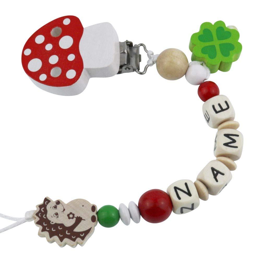 Cadena para chupete con nombres de madera, modelo de seta de la suerte con erizo, diferentes colores rojo rojo Talla:Standard