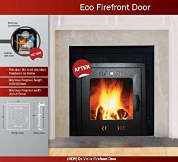 De Vielle Eco Fire Front Door Solid Fuel Saver, Metal, Dark Green ...