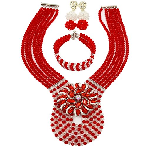 laanc Womens Wedding 6 Rows Champagne Gold AB and Multicolor Crystal Beads African Jewelry Sets (Red Trasparent)