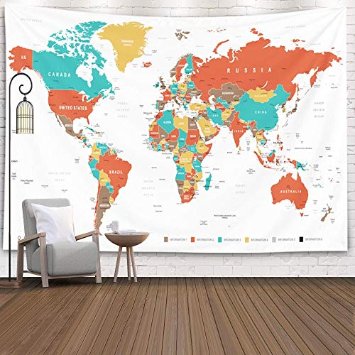 Capsceoll College Wall Decor, Cute Map Tapestry World Map Wall Tapestry Tapestries Map Wall Tapestry Map Map Tapestry Red Hanging Map Tapestry 60X50 Inches,White Orange (Outline Map Of Oceania Australia And New Zealand)