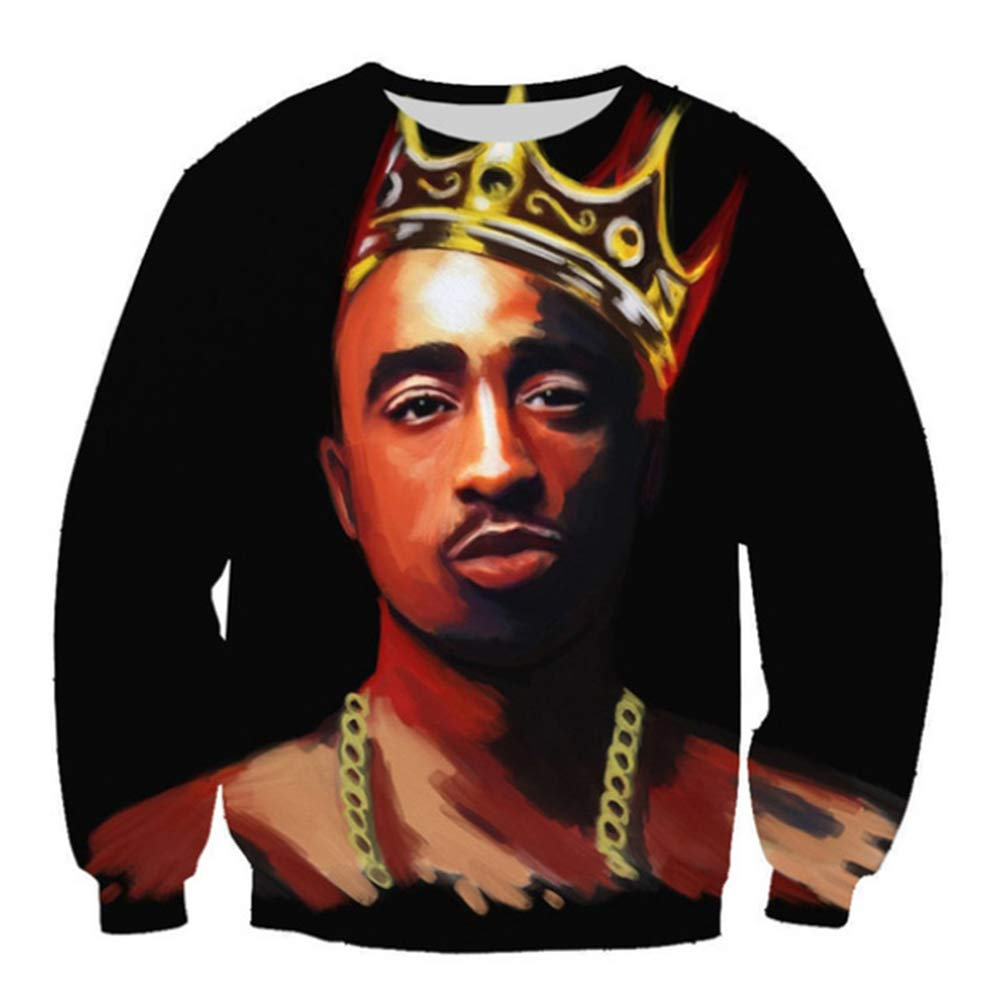 SU Kleidung Tupac Sweatshirt Hip Hop Jersey Jumper 3D Print 2Pac Pullover Men and Damens Couple Sweater,S