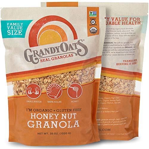 Grandy Oats Honey Nut Granola, Certified Organic, Gluten Free, Family Value Size, 36oz bags (Pack of 2) (Honey Nut Granola)