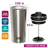 12 Oz Vacuum Insulated French Press Mug For Tea & Coffee | Stainless Steel Double Walled Travel Mug Keeps Your Drink Hot & Cold | by Zell