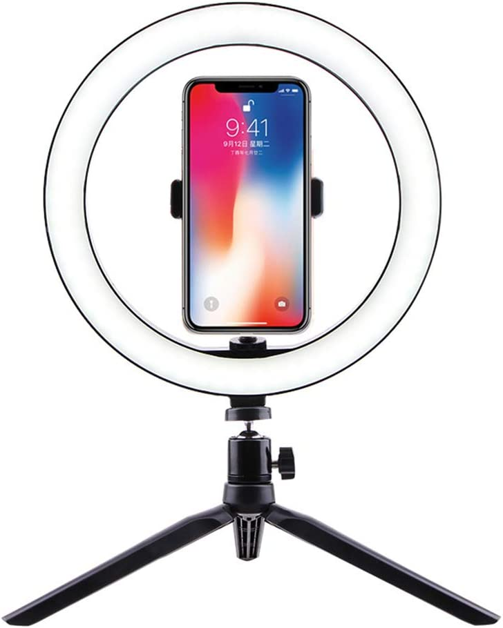 EcoGo 10 Aro de Luz para Movil Ring Light con Tripode Soporte Telefono para Movil/Maquillaje/Fotografia/TIK Tok/Live Streaming/Youtube (26cm+Soporte)