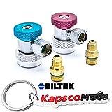 Biltek Air Condition Manifold Refrigerant Quick Coupler Adapters High & Low R134A Adjustable + KapscoMoto Keychain