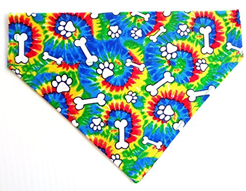 aws and Bones Prints Dog Bandana, Doggie Accessories, Thread Thru Slip Through Over the Collar Petwear (Dye Slip)