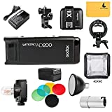 GODOX AD200 TTL 2.4G HSS 1/8000s Pocket Flash Light Double Head 200Ws with 2900mAh Lithium Battery Flashlight Flash Lightning+GODOX X1T-S Flash Trigger,S-type Bowens Mount Bracket,Standard Reflector