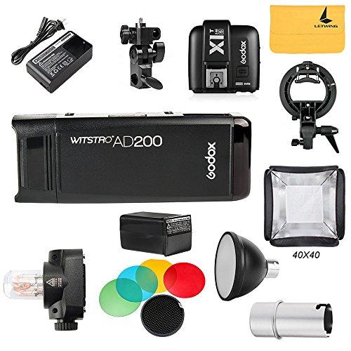 GODOX AD200 TTL 2.4G HSS 1/8000s Pocket Flash Light Double Head 200Ws with 2900mAh Lithium Battery Flashlight Flash Lightning+GODOX X1T-S Flash Trigger,S-type Bowens Mount Bracket,Standard Reflector by Godox