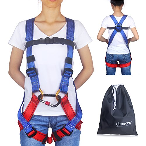 Full Body Climbing Harness (Kids' Climbing Harness, Full Body Harness, Oumers Safe Belts Guide Harness For Outward Band Expanding Training, Caving Rock Climbing Rappelling Equip, Safety Comfort (Large Blue and Red))