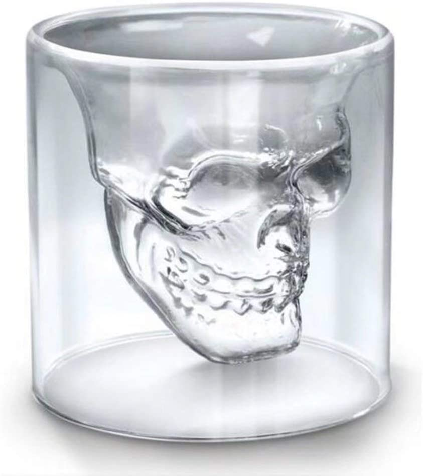 Amazon Com Set Of 4 Shot Glasses 5 Oz 150ml Cool Skull Design Double Wall Crystal Glass Beer Mugs Stein Bar Drinking Creative Wine Cup Glassware Drinkware
