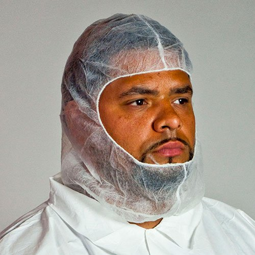 Royal White Polypropylene Hood with Elastic Face Enclosure, Latex Free, Case of 1000