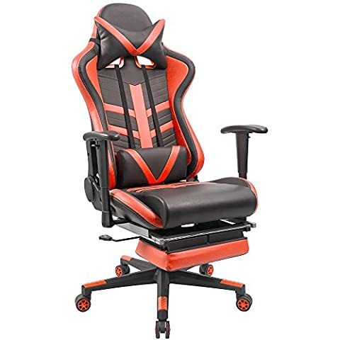 [Upgraded Version]Homall High Back Video Gaming Chair Ergonomic Design Bucket Seat With Footrest Padding,Including Headrest and Lumbar (Gamers Chairs For Pc)