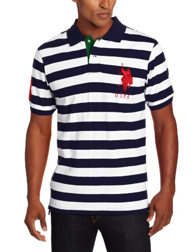 U.S. Polo Assn. Men's Short Sleeve Striped Polo With Big Pony, Classic Navy, Large