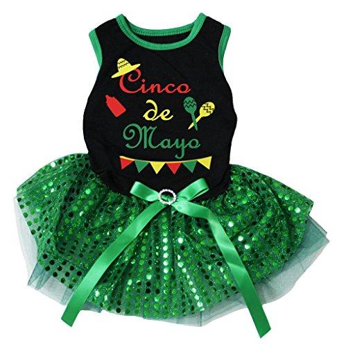 Petitebella Cinco De Mayo Style Cotton Shirt Tutu Puppy Dog Dress (Black/Green Sequins, Small)]()