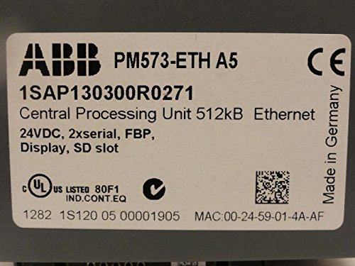 ABB 1SAP130300R0271 CPU 512kB Ethernet 24Vdc, PM573-ETH A5