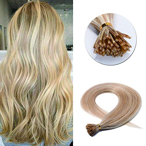 Pre Bonded Keratin Stick/I Tip Remy Human Hair Extension Cold Fusion Hair Piece for Women Smooth Straight 100 Strands/pack #18P613 Ash Blonde&Bleach Blonde 20 inches 50g ()