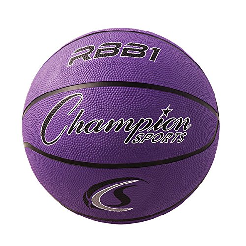 Champion Sports Official Heavy Duty Rubber Cover Nylon Basketballs (Purple, Size 7)
