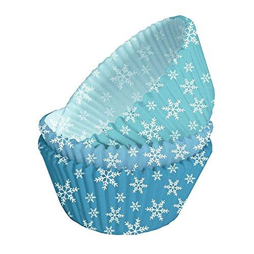 75 Papierformen, Muffin Formen, Cupcake Förmchen, blau mit Eiskristallen (super für Disney Frozen, Eiskönigin Cupcakes)