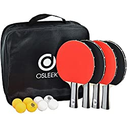 Osleek Ping Pong Paddle Set - 4 Rackets 8 Balls Professional/Recreational Table Tennis Bundle | Durable 5 Layer Blade, Performance Rubber for Control, Spin & Speed | Packed in Protective Travel Case