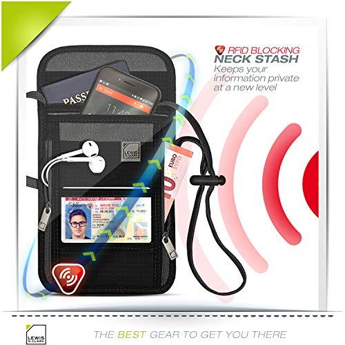 51bSPgFUb3L - Lewis N. Clark RFID Blocking Stash Neck Wallet, Travel Pouch + Passport Holder for Women & Men, Black