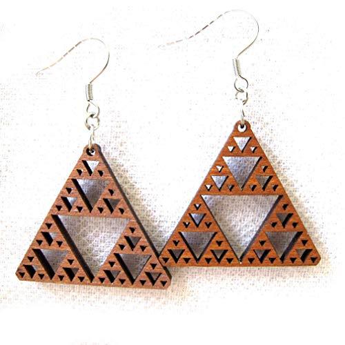 "- Wooden Earrings ""Sierpinski Triangle Fractal 2"", Inspirational Math Science jewelry"