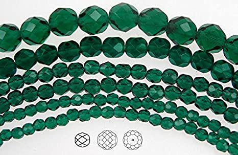 """Czech Fire Polished Round Faceted Glass Beads in Medium Emerald 16/"""" strand green"""