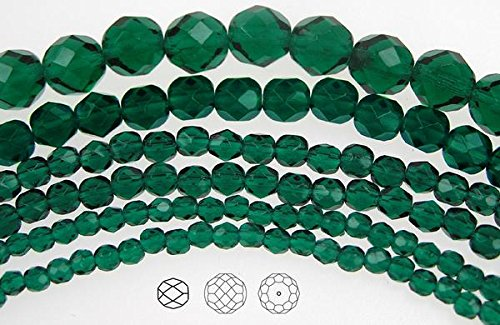 - 8mm (153 beads) Emerald, Czech Fire Polished Round Faceted Glass Beads, 3x16 inch strand