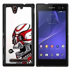 LECELL--Funda protectora / Cubierta / Piel For Sony Xperia C3 -- Cráneo Yo Rojo Blanco tribal del motorista de la Muerte --