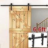 Yaheetech 6.6 FT Black Antique Style Steel Sliding Wood Barn Door Closet Doors Hardware Track Kit Set