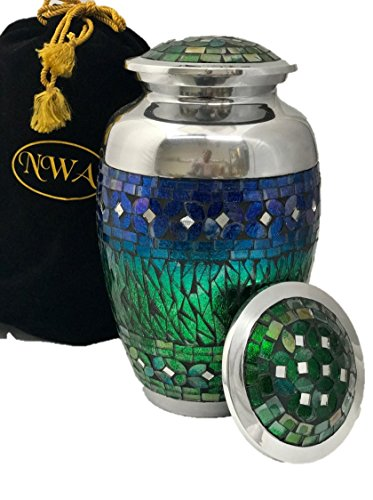 Beautiful Blue Mosaic Cremation Urn, Adult Human Funeral Urns With Bag