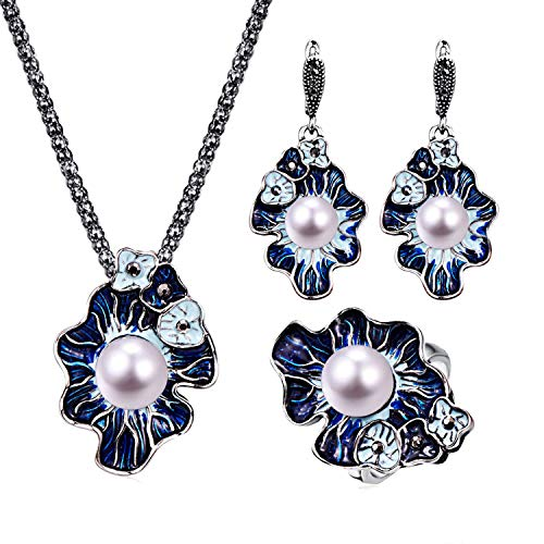 - ihuoshang Vintage Creative Flower Shape Luxury Women Engagement Jewelry Sets Exquisite Pearl Necklace Earrings Ring 3 Pcs Jewelry for Lover, 19,45cm